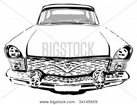 Coche Retro, vista frontal, vector illustration