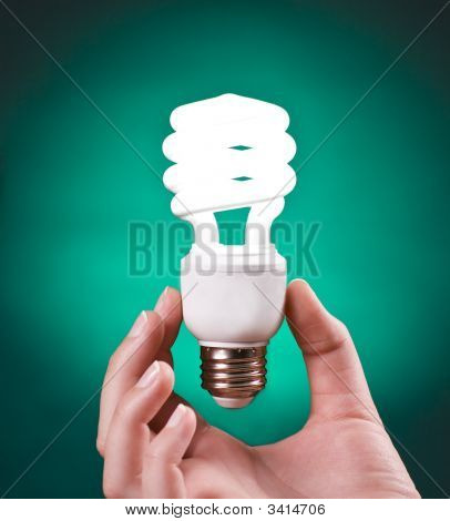 Compact Fluoresent Light Bulb Held In Hand