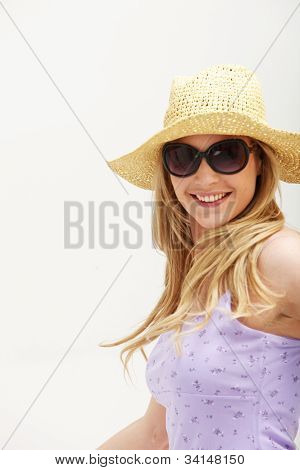 Attractive Woman With Hat And Sunglasses