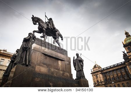 Prague, Wenceslas Square: view of the statue of St. Wenceslas and the National Museum