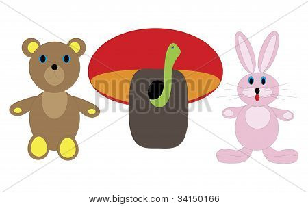 Children's picture bear, hare, and the fungus with a worm
