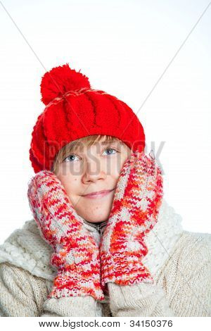 Portrait of young beautiful boy in winter style