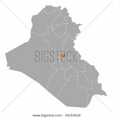 Karte des Irak, Bagdad hervorgehoben