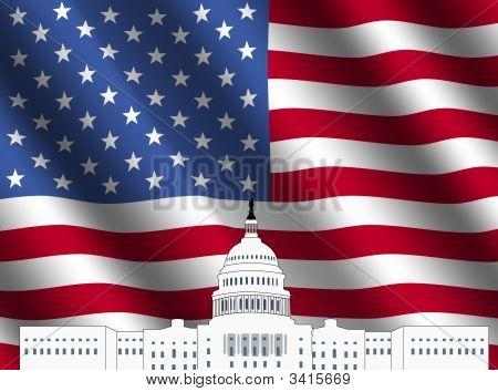 Nos Capitolio con bandera americana