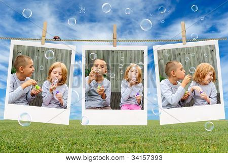 Brother And Sister Blowing Soap Bubbles
