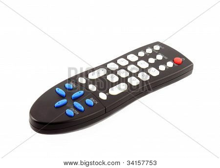 Controle remoto de Tv preto isolado no fundo branco