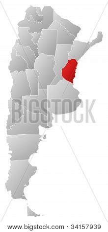 Map Of Argentina, Entre Ríos Highlighted