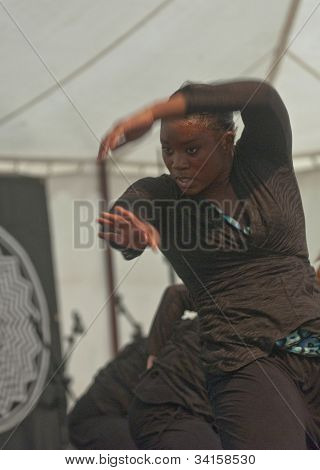 Dancer from State of Emergency Dance Company perform live