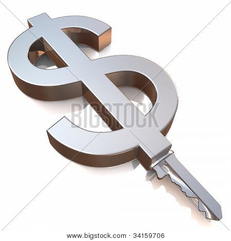Steel Key With Dollar Sign As