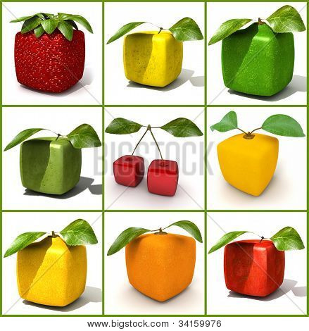 3D rendering of a selection of cubic fruits