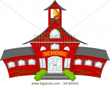 Illustration of cartoon school building