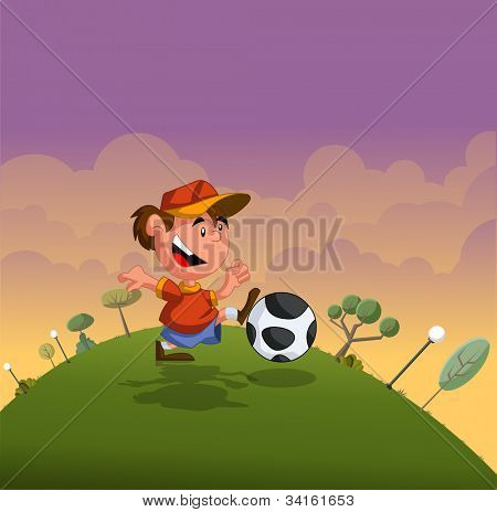 Cartoon boy playing with soccer ball on green park