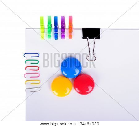 Office Set On Paper Isolated On A White