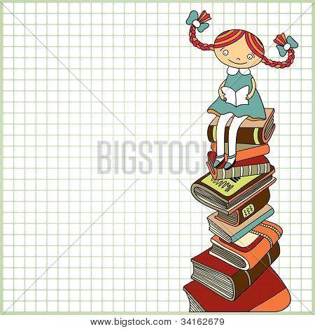 Schülerin sitzend auf dem Heap der Bücher