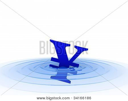 Yen Symbol In Water