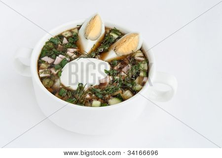 Okroshka Cold Kvass Soup With Chopped Vegetables And Eggs