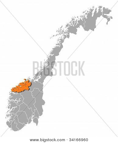 Map Of Norway, Møre Og Romsdal Highlighted