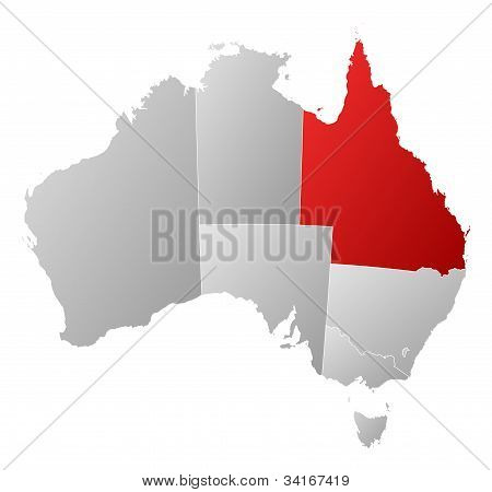 Map Of Australia, Queensland Highlighted