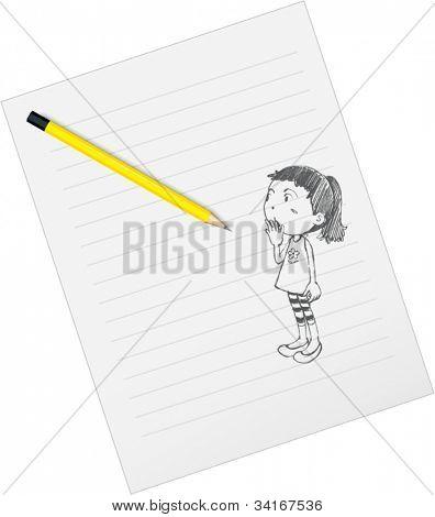 Ilustración de papel y lápices de dibujo sobre un fondo blanco