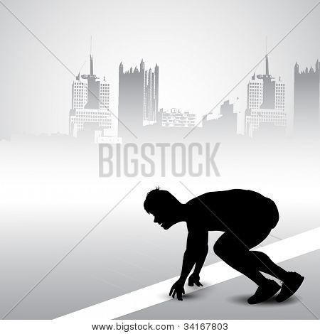 Silhouette of a confident athlete getting ready for race against grungy urban city background. EPS 10.