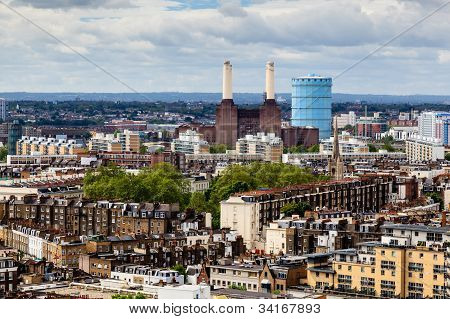 Aerial View From Westminster Cathedral On Roofs And Battersea Powerstation, London, United Kingdom