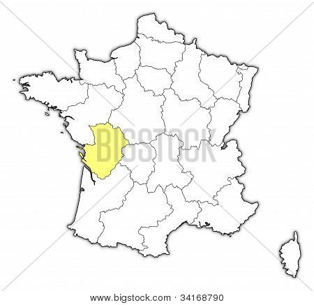 Map Of France, Poitou-charentes Highlighted