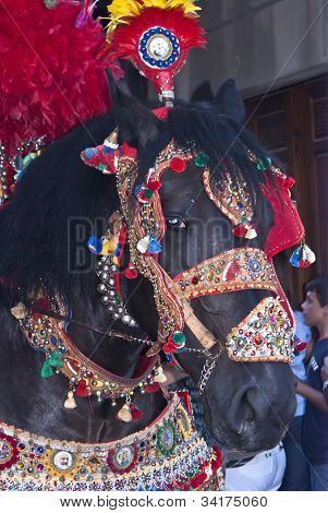 Folkloristic Parade Of Traditional Horse-cars In Sicily