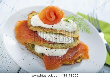 Savoury Pancake With Salmon And Yoghurt