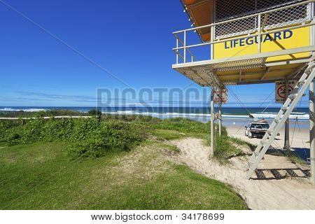 Lifeguard Tower And Car On Australian Beach.