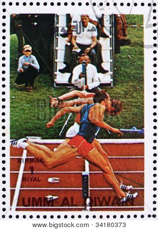Postage stamp Umm al-Quwain 1972 Sprint, Olympic Games of the pa