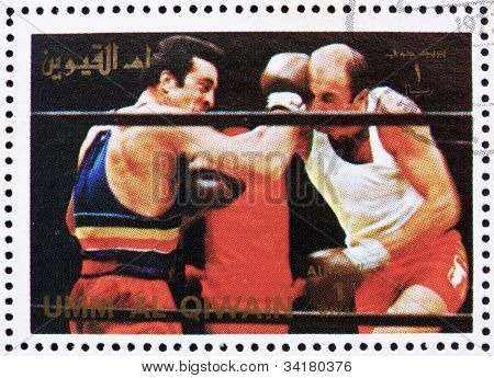 Postage stamp Umm al-Quwain 1972 Boxing, Olympic Games of the pa