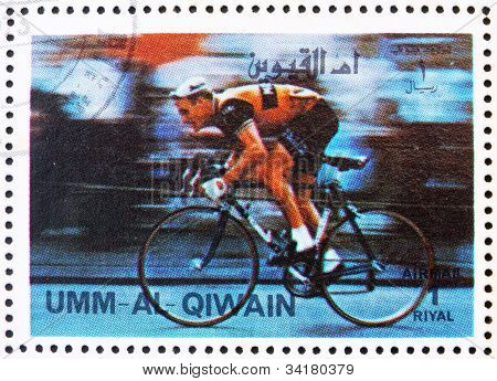 Postage stamp Umm al-Quwain 1972 Cycling, Olympic Games of the p