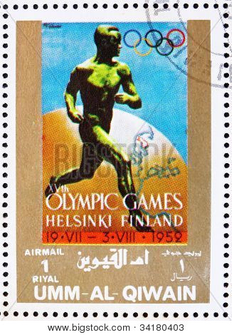 Postage stamp Umm al-Quwain 1972 Helsinki 1952, Olympic Games of
