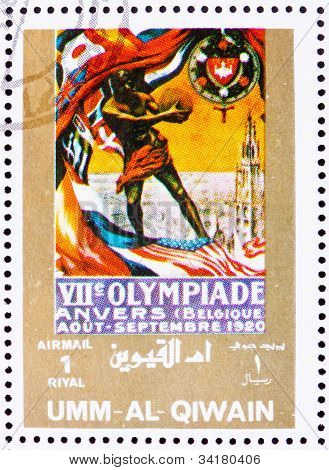Postage stamp Umm al-Quwain 1972 Antwerp 1920, Olympic Games of