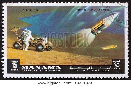 Postage stamp Manama 1972 Astronaut and Radar Antenna, Apollo 15