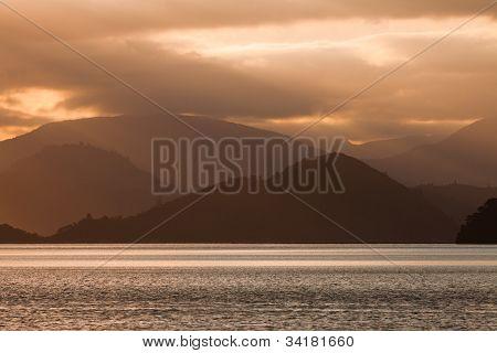 Cloudy Sunset over Marlborough Sounds, New Zealand