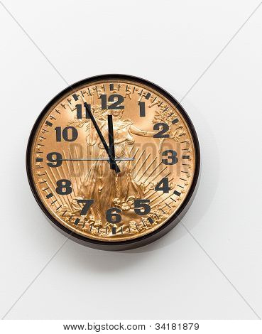 Office Clock With Gold Coin As Face For Concept