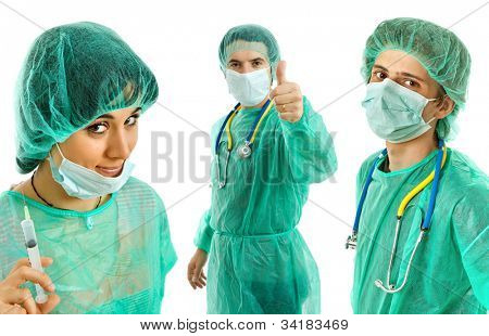three young doctors, isolated on white background