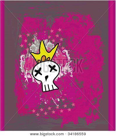 Hand drawn Emo skull vector on grunge background