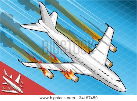 Isometric Airplane Falling Down With Engines On Fire