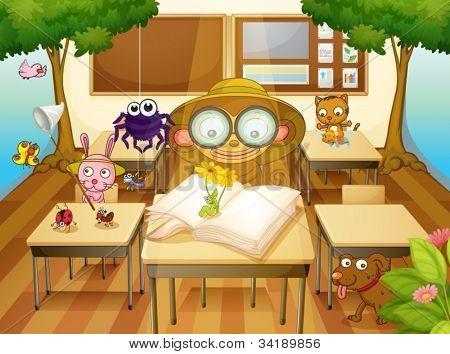 Ilustración de un animales y árboles en el aula