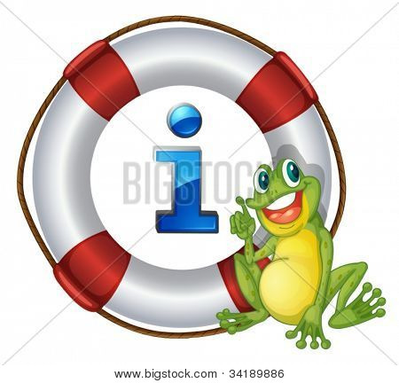 illustration of frog showing a float a white background