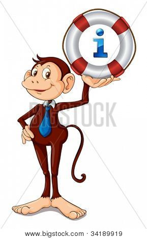 illustration of monkey holding a float a white background