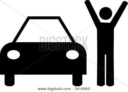 Stick Man Arms Up With Car