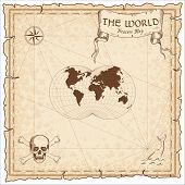 World Treasure Map. Pirate Navigation Atlas. Van Der Grinten Iv Projection. Old Map Vector. poster