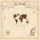 World Pirate Map. Ancient Style Navigation Atlas. Ginzburg V Projection. Old Map Vector. poster