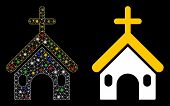 Bright Mesh Christian Church Icon With Lightspot Effect. Abstract Illuminated Model Of Christian Chu poster