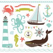 Decorative Nautical and Sea Set,maritime illustrations