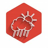 White Line Cloud With Rain And Sun Icon Isolated With Long Shadow. Rain Cloud Precipitation With Rai poster