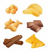 Snack Food. Salty Sticks And Cookies Diet Crackers Backing Mini Bread Organic Food Vector Realistic  poster